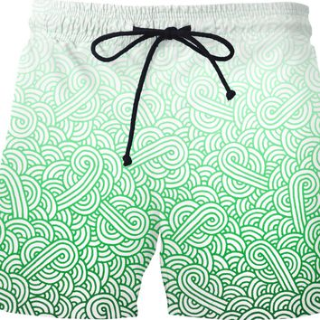 Gradient green and white swirls doodles Swim Shorts