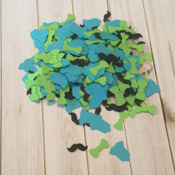 Black Mustache, Turquoise Blue Onesuit, Lime Green Bowtie Confetti for Little Man Theme Baby Shower Decorations