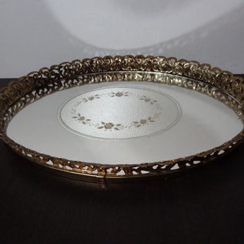 Vintage Oval Vanity/Dresser Tray - Mirrored with Oval Floral Design and Gold Tone Floral Metal Filigree - Hollywood Regency/Paris Apartment