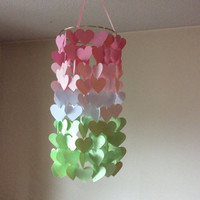 Heart Shaped Paper mobile. Pink and Mint Ombre Paper Crib Mobile, modern crib mobile, nursery mobile, teen/dorm, wedding décor, baby shower
