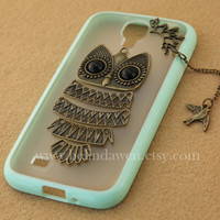 cute owl Samsung Galaxy S4 case, Samsung Galaxy S2 S3 S4  note 2 note 3 case, iphone 4 4s 5 5s 5c case
