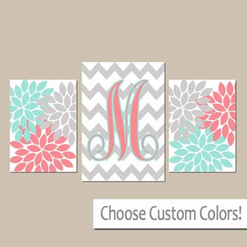 Flower Monogram Wall Art, Coral Aqua Gray Nursery Decor, CANVAS or Prints, Girl Bedroom Pictures, Chevron Monogram Initials, Set of 3