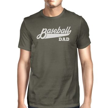 Baseball Dad Men's Dark Gray Cotton Shirt Funny Fathers Day Gifts