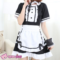 [Size S- 3XL] J-Fashion Black/White Caff Maid Dress with Apron and Hair Band SP151648
