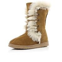 Brown suede faux fur lined boots - knee high / calf boots - shoes / boots - women