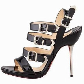 Christian Louboutin Funky Black Spike Stiletto Heel Strappy Sandals Shoes  38 $1395