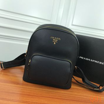 HCXX 19Aug 953  Prada Leather Fashion Simple Backpack 30-26-12cm