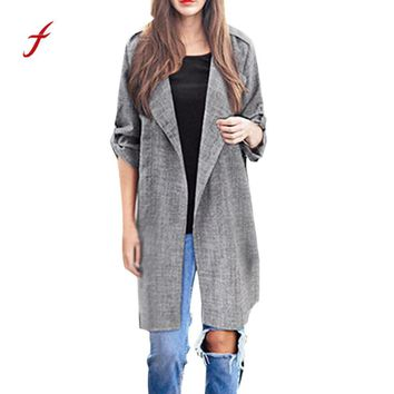 FEITOGN Jackets For Women Fashion Open Front Coat Long Cloak Jackets Overcoat Waterfall Cardigan Casual Solid Autumn WInter coat