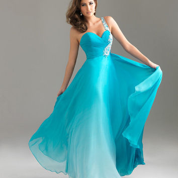 Turquoise Ombre Chiffon Embellished One Shoulder Sweetheart Prom Dress - Unique Vintage - Homecoming Dresses, Pinup & Prom Dresses.