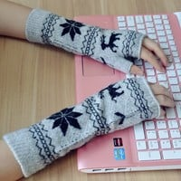 FunShop Snowflake and Reindeer Fingerless Gloves for Women