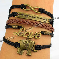 Elephants, LOVE, infinity, where there is a will there is a way bracelet, Vintage style bracelet, men leather bracelet, Christmas gifts