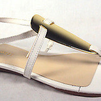 NINE WEST women's shoes WESLIE WHITE LEATHER GOLD T STRAP SLINGBACK SANDALS NEW