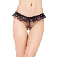 Sexy open crotch lingerie | Beaded Panty Hot Women Underwear transparency Lady's Micro Thong Panty Black Lace Sexy Underwear