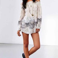 Band Of Gypsies Boho Print Off-The-Shoulder Tunic-
