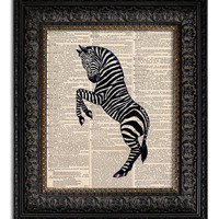 dictionary art vintage ZEBRA Art book page print on vintage dictionary page 8x10 upcycled recycled