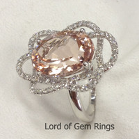 Oval Morganite Engagement Ring Pave Diamond Wedding 14K White Gold 10x14mm