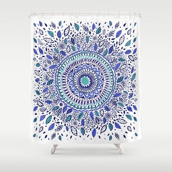 Indigo Flowered Mandala Shower Curtain by Janet Broxon