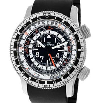 Fortis B-47 Calculator - 3 Time Zones - 24 Hour Display - Tachymeter - Rubber