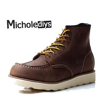 Micholediys Handmade Leather Brand shoes Platform WorK Brown Boot Red Mens Wing mens Breathable Shoes Ankle botas