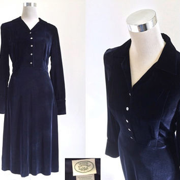 Vintage Laura Ashley - Vintage 1980's Dress - Midnight Blue Velvet Dress
