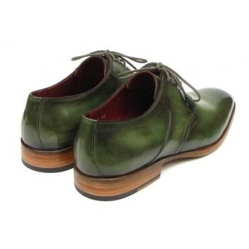 Paul Parkman Men's Green Hand Painted Derby Shoes Leather Upper and Leather Sole
