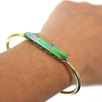 Green Raw Aurora Crystal 24k Gold Plated Bangle