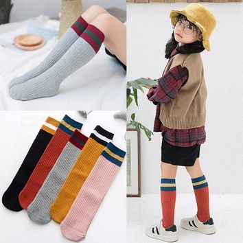 Kids Girls Cotton Three Bars Student Knees Socks Black White Solid Color School Sports Socks For 2-8 Years Old Yellow