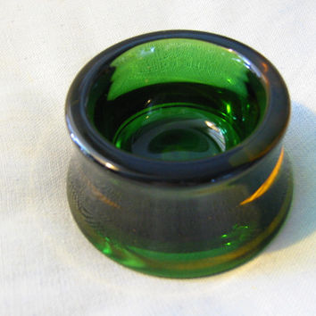 Green Murano Italy Art Glass Bowl Rainbow Orange Accent