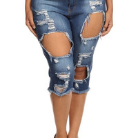 Curvy Destroyed Bermuda Shorts