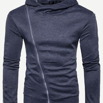 Men Zip Decoration Cuff Hooded Sweatshirt