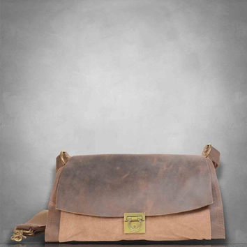 January Sale New Genuine Leather Canvas Messenger Bag laptop tablet A4 documents postman travel business casual