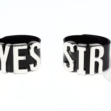 "HARLEY QUINN ""YES SIR"" Cuff Bracelets Pair - XL - Silver"