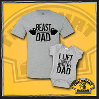 Daddy and Me Clothing Set - Beast Dad - I Lift Juice With My Dad - Father and Son - Dad and Son - Matching Set - Clothing - Workout - Cute
