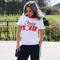 Fashion Casual Letter Print Loose Round Neck Short Sleeve Women Shirt Top Tee