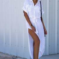 Vanity Tee Stripe Maxi Dress - White