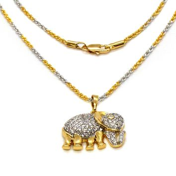 (1-2414-1679-j6) Gold Overlay CZ Elephant Necklace, 18""