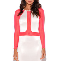 NEON PINK MESH COLOR BLOCK BODYCON MINI DRESS