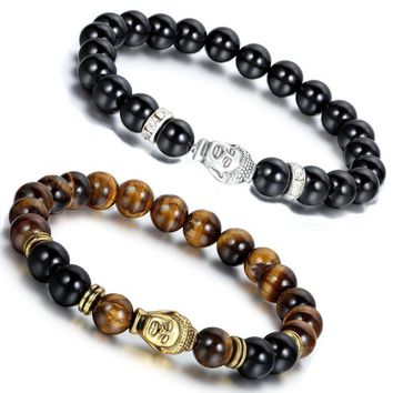 NEW Handmade Agate Stone Buddha Head Beaded Men Women 8mm Beads Energy Bracelet