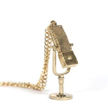 Radio Microphone Necklace Pop Star Singer Gold Tone NC38 Vintage Retro Mic Music Pendant
