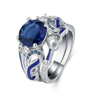European Blue Round Crystal Zircon Heart Shape Enamel Ring Sets for Wedding Anniversary Party Jewelry Size 6-10