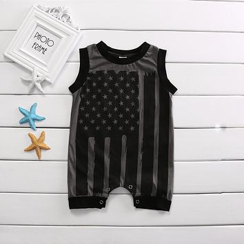 Cute Baby Boy Girl Romper Star-Spangled Banner Sleeveless Cotton Romper Jumpsuit Outfits Clothes