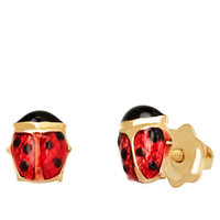 Lord & Taylor 14K Yellow Gold and Red Baby Ladybug Earrings