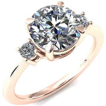 Poppy Round Moissanite 4 Claw Prong 2 Rail Basket Round Sidestones Inverted Cathedral Engagement Ring