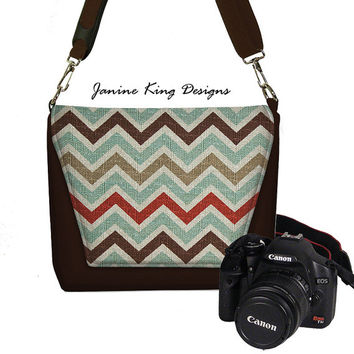 Chevron Camera Bag Digital Slr Camera Bag DSLR Camera Bag Purse Womens Camera Bag Case blue red brown (MTO)