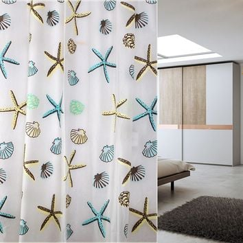 180cm*180 200cm Shell Starfish Bathroom Waterproof Mildew Proof Shower Curtain With Curtain Hooks Rings