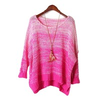 Copy of Copy of Ombre Fluorescence Loose Pullover Rose
