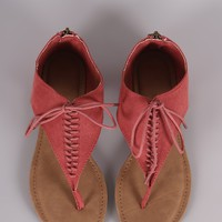 Bamboo Suede V-Strap Lace Up Thong Flat Sandal