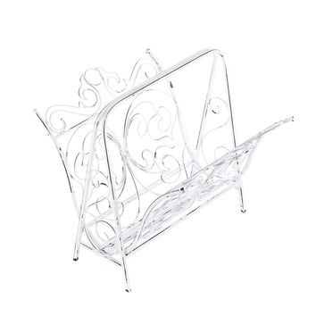 Cast Iron White Magazine Rack