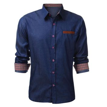 Incerun Brand Men's Denim Long Sleeve Slim Fit Shirt