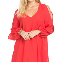 Around the Globe Coral Shift Dress